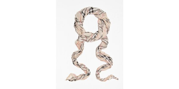 Dámský béžový kostkovaný šátek Bella Rose