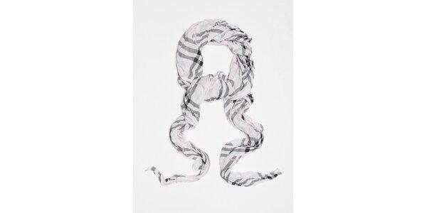 Dámský bílý kostkovaný šátek Bella Rose