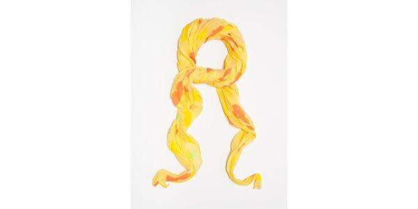 Dámský žlutý šátek s potiskem hvězdiček Bella Rosa