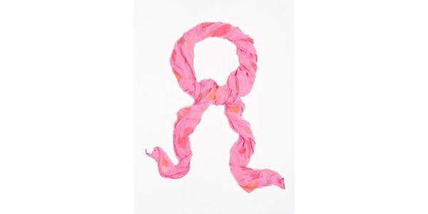Dámský růžový šátek s potiskem srdíček a hvězdiček Bella Rosa