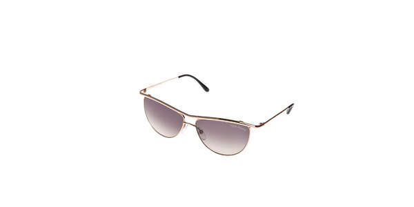 Dámské sluneční brýle Tom Ford se zlatými obroučkami a šedými skly