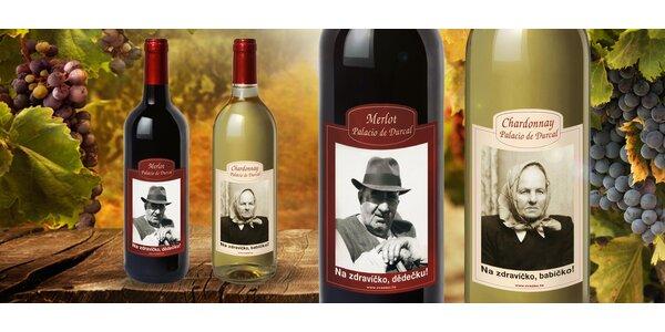 Láhev vína s vaší fotkou a textem