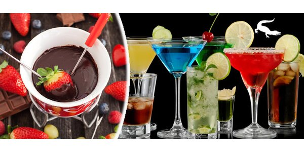 Alkoholické koktejly nebo čokoládové fondue s čajem