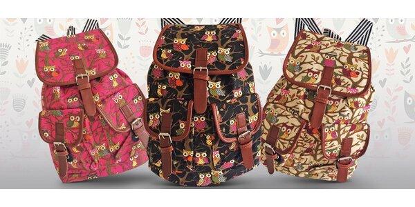 Látkový batoh se sovičkami - 3 barvy