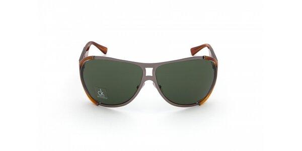 Pánské jantarovo-šedé sluneční brýle Calvin Klein