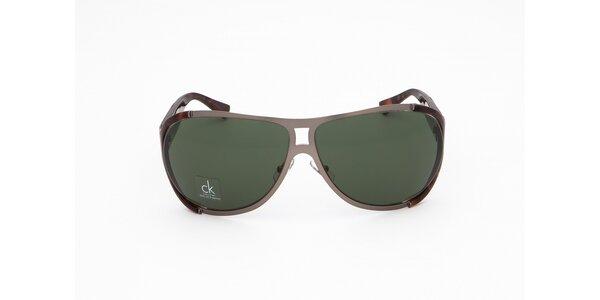Pánské šedo-hnědě žíhané sluneční brýle Calvin Klein