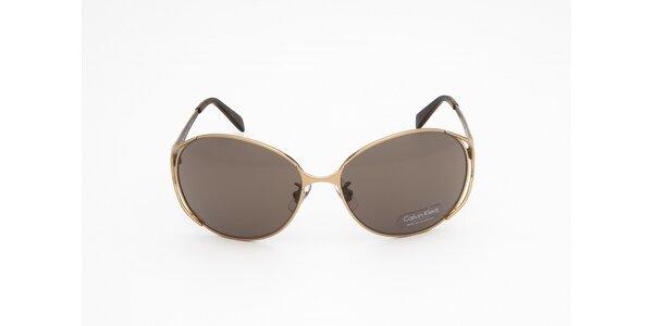 Dámské zlato-hnědé sluneční brýle Calvin Klein
