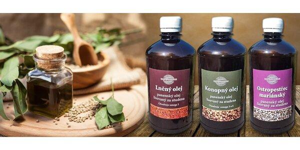 Konopný, lněný nebo ostropestřcový olej
