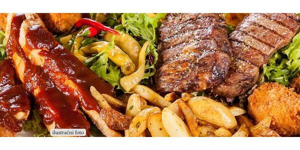 Prkno 600 g grilovaného masa pro dva jedlíky