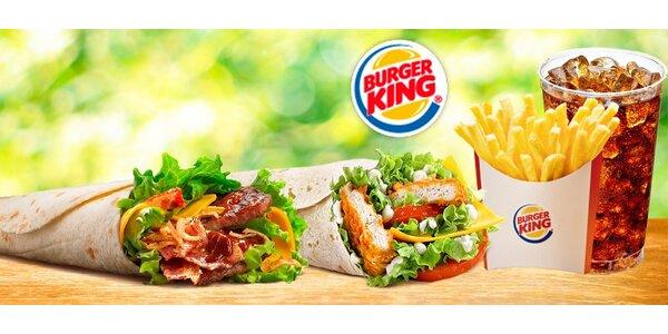 Burger King Wrap + hranolky + bezedný nápoj