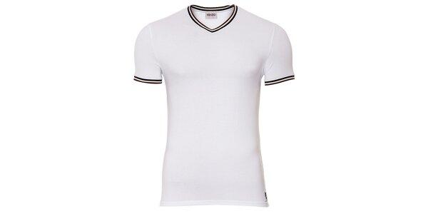 Pánské bílé tričko Kenzo s výstřihem do véčka