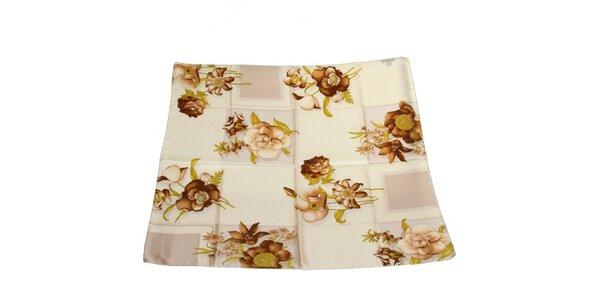 Dámský krémovo-hnědý hedvábný šátek s květinovým vzorem Gianfranco Ferré