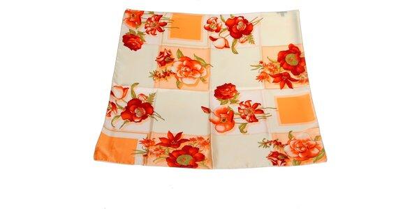 Dámský krémovo-červený hedvábný šátek s květinovým vzorem Gianfranco Ferré