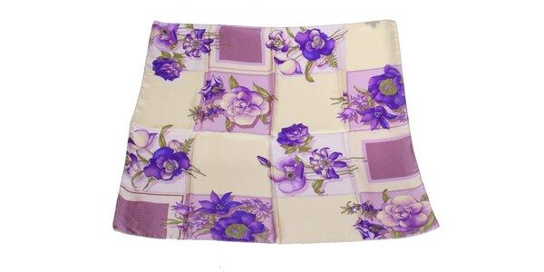 Dámský krémovo-fialový hedvábný šátek s květinovým vzorem Gianfranco Ferré