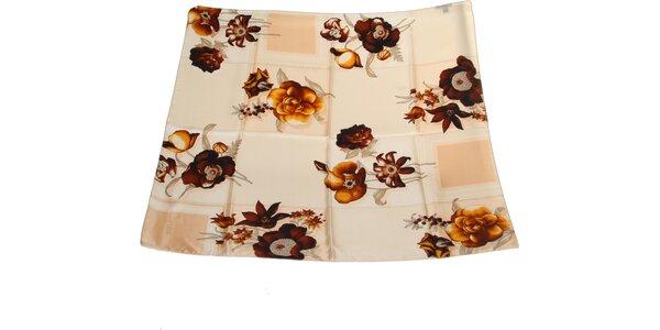 Dámský hnědo-krémový hedvábný šátek s květinovým vzorem Gianfranco Ferré