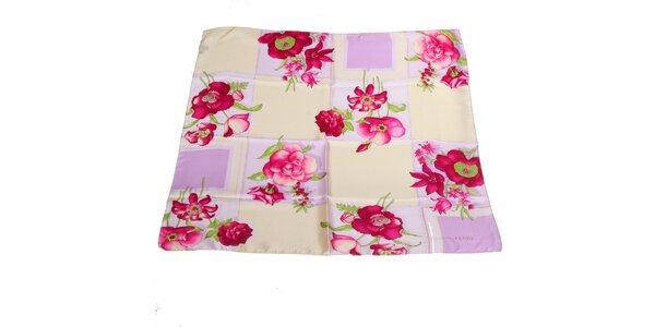 Dámský růžovo-krémový hedvábný šátek s květinovým vzorem Gianfranco Ferré