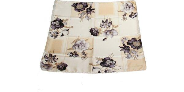 Dámský šedo-krémový hedvábný šátek s květinovým vzorem Gianfranco Ferré