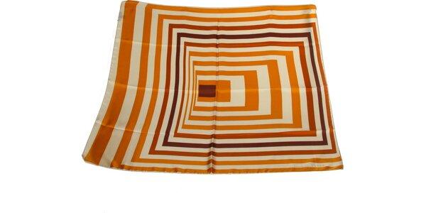 Dámský pomerančovo-hnědý hedvábný šátek s pruhy Gianfranco Ferré