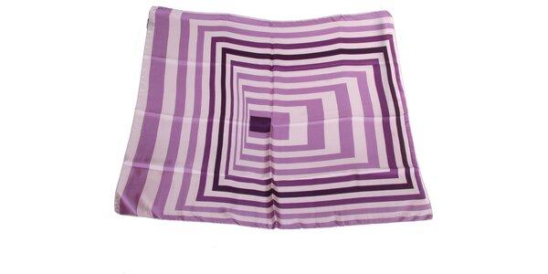 Dámský fialovo-krémový hedvábný šátek s pruhy Gianfranco Ferré