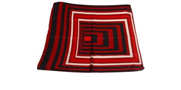 Dámský černo-červený hedvábný šátek s pruhy Gianfranco Ferré