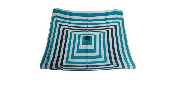 Dámský krémovo-modrý hedvábný šátek s pruhy Gianfranco Ferré