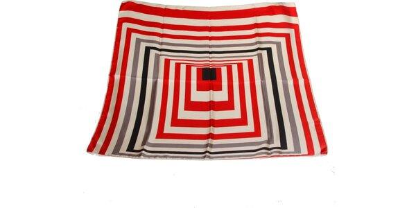 Dámský červeno-šedý hedvábný šátek s pruhy Gianfranco Ferré