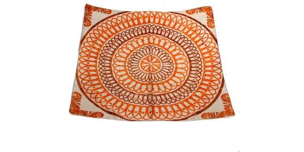 Dámský oranžovo-krémový hedvábný šátek s potiskem Gianfranco Ferré