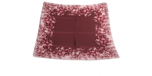 Dámský purpurově červený hedvábný šátek s puntíky Gianfranco Ferré