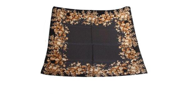 Dámský černý hedvábný šátek s puntíky a květinami Gianfranco Ferré