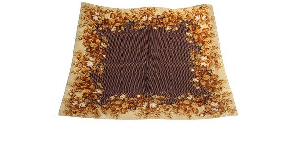 Dámský hnědo-béžový hedvábný šátek s puntíky Gianfranco Ferré