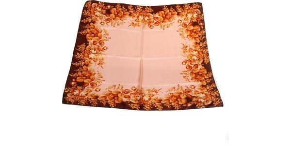 Dámský hnědo-růžový hedvábný šátek s puntíky Gianfranco Ferré