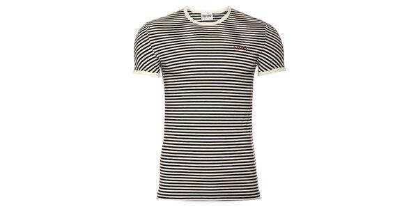 Pánské bavlněné tričko Kenzo s černobílými proužky a kulatým výstřihem