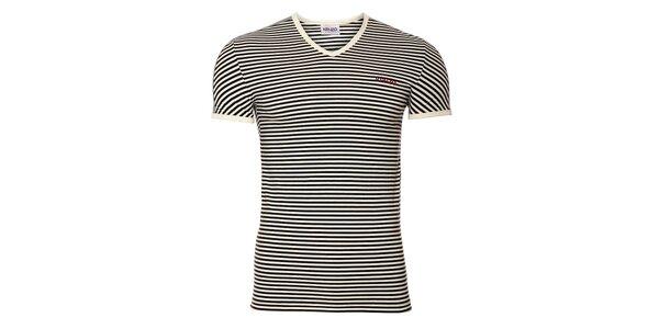 Pánské bavlněné tričko Kenzo s černobílými proužky a výstřihem do véčka