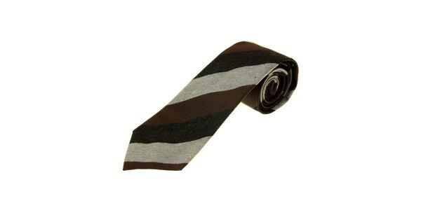 Pánská hnědo-šedá proužkovaná kravata Gianfranco Ferré