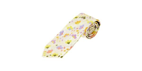 Pánská krémová kravata Gianfranco Ferré s květinovým motivem