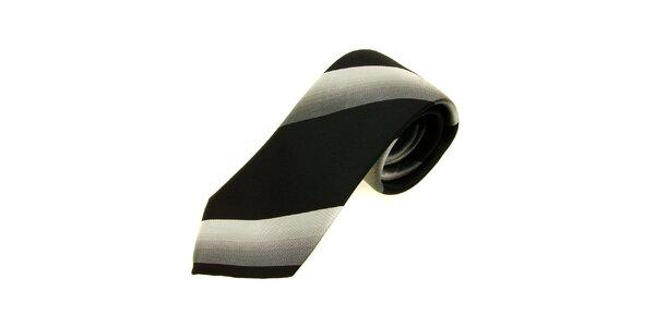 Pánská černo-stříbrná kravata Gianfranco Ferré se širokými proužky