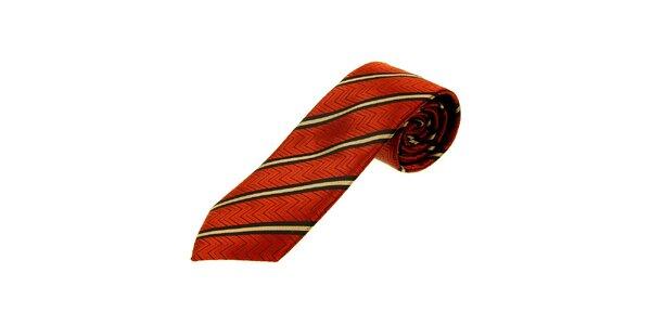 Pánská oranžovočervená kravata Gianfranco Ferré s proužky