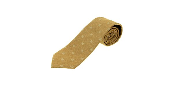 Pánská světle hnědá kravata Gianfranco Ferré s kostičkami