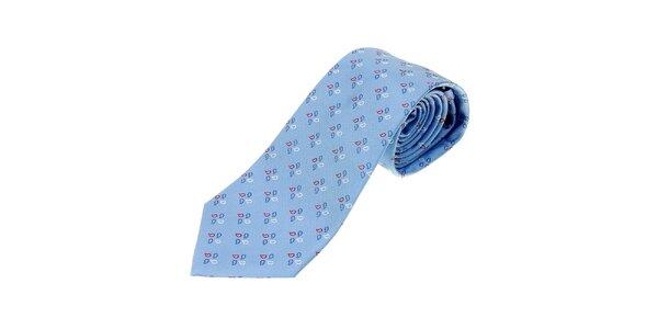 Pánská nebesky modrá kravata Les Copains s jemným vzorem