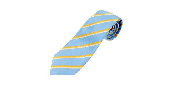 Pánská bledě modrá kravata Les Copains se žlutými proužky