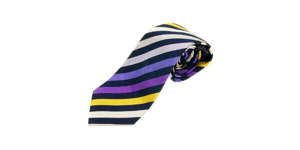 Pánská modro-fialová proužkovaná kravata Les Copains