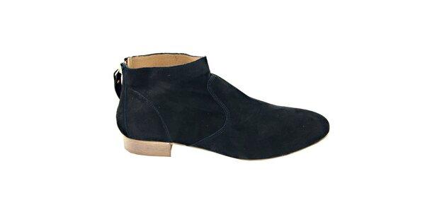 Dámské černé semišové kotníčkové boty na zip Eye