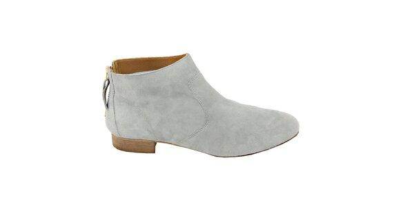 Dámské světle šedé semišové kotníčkové boty na zip Eye