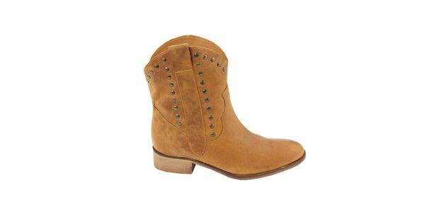 Dámské pískové semišové kovbojské boty s cvočky Eye