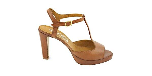 Dámské karamelově hnědé páskové sandálky s přezkou Eye