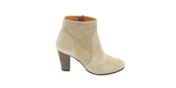 Dámské béžové semišové kotníčkové boty na podpatku Eye