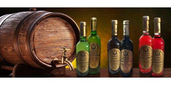 6 láhví moravských vín