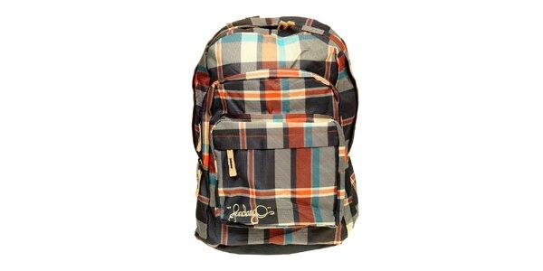 Modro-červený kostkovaný batoh Fundango