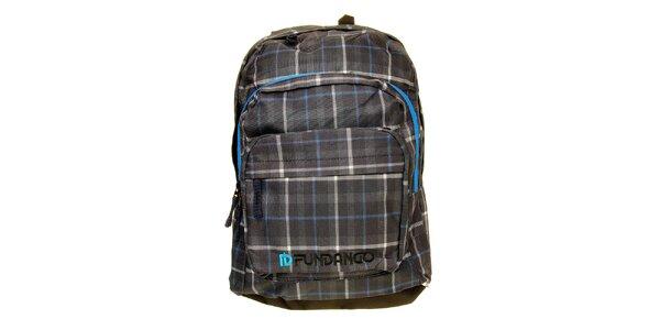 Pánský šedo-modrý kostkovaný batoh s logem Fundango