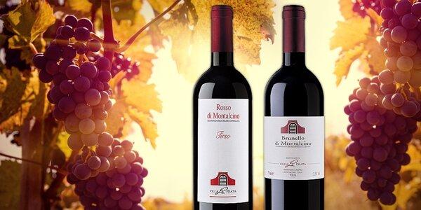 Vynikající vína Rosso di Montalcino nebo Brunello z Toskánska